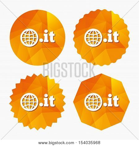 Domain IT sign icon. Top-level internet domain symbol with globe. Triangular low poly buttons with flat icon. Vector