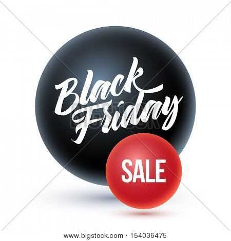 Black Friday on black sphere and sale on red sphere.