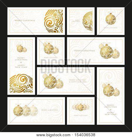 Vector Christmas white greeting card set with abstract swirl Christmas balls.