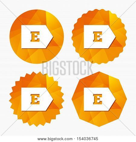 Energy efficiency class E sign icon. Energy consumption symbol. Triangular low poly buttons with flat icon. Vector