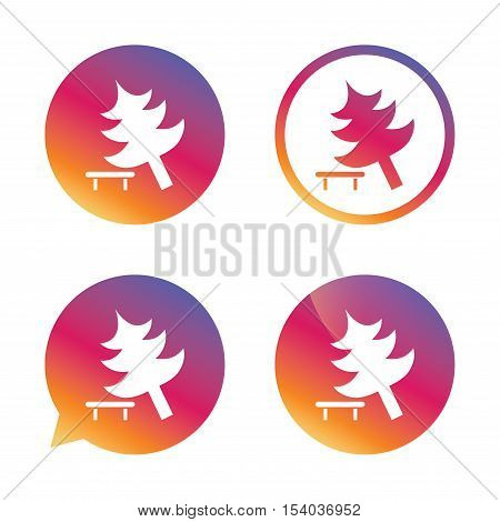 Falling tree sign icon. Caution break down christmas tree symbol. Gradient buttons with flat icon. Speech bubble sign. Vector