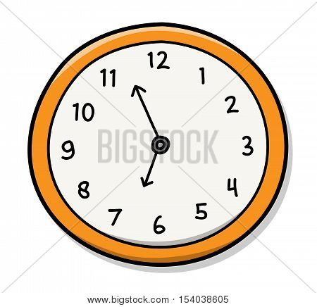 Wall Clock. A hand drawn vector illustration of a wall clock.
