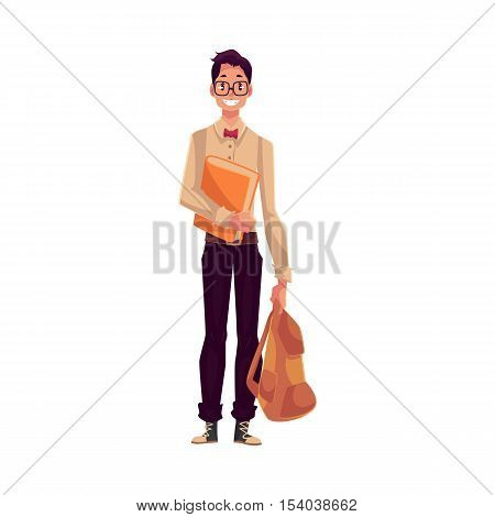 College, university student, geek in square glasses holding backpack, cartoon style illustration isolated on white background. Male student with books and backpack wearing large glasses and bow tie