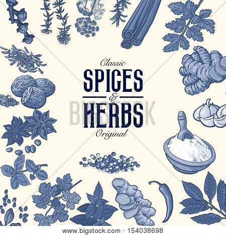 Square banner or poster design with monochrome spices and herbs, sketch style vector illustration. Banner template with realistic hand drawn herbs and spices in monochrome design