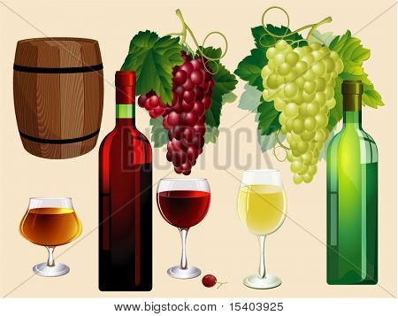 Wine. Vector design elements set.