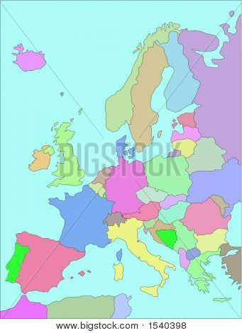 Europe Map Boundaries.Eps