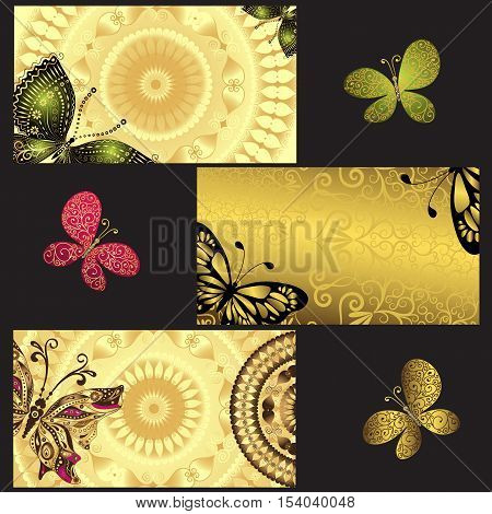 Set of golden business cards with colorful openwork butterflies on black vector