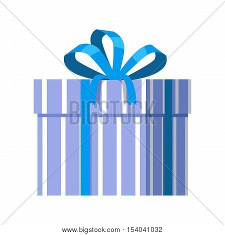 Single blue gift box with blue ribbon in flat design. Beautiful present box with overwhelming bow. Gift box icon. Gift symbol. Christmas gift box. Isolated vector illustration