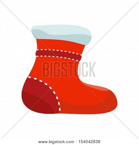 Sock for christmas stocking vector. Flat design. Illustration of big warm red sock. Christmas and New Year celebrating. Winter holidays symbol. Isolated on white background