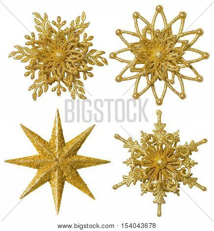 Snowflake Star Christmas Decoration Ornament Xmas Gold Sparkling Set Isolated over White