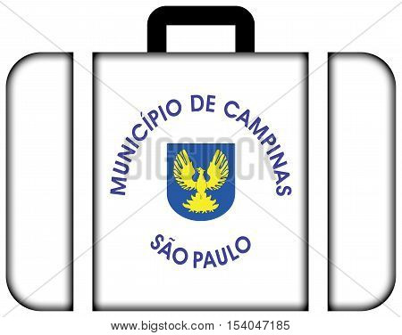 Flag Of Campinas, Sao Paulo State, Brazil. Suitcase Icon, Travel And Transportation Concept