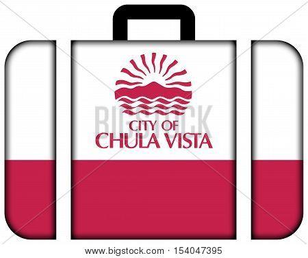 Flag Of Chula Vista, California, Usa. Suitcase Icon, Travel And Transportation Concept