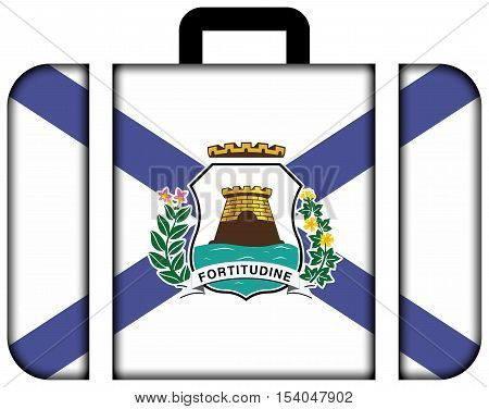 Flag Of Fortaleza, Ceara, Brazil. Suitcase Icon, Travel And Transportation Concept