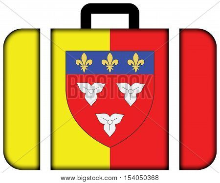 Flag Of Orleans With Coat Of Arms, France. Suitcase Icon, Travel And Transportation Concept
