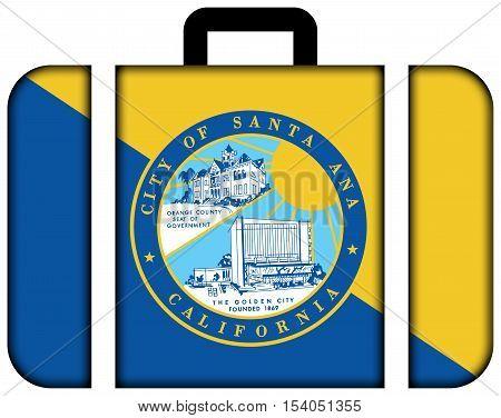 Flag Of Santa Ana, California, Usa. Suitcase Icon, Travel And Transportation Concept