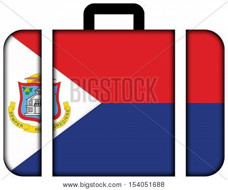 Flag Of Sint Maarten. Suitcase Icon, Travel And Transportation Concept