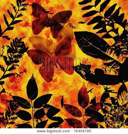 Butterfly, Leaves Silhouette, See Vector Also In My Portfolio