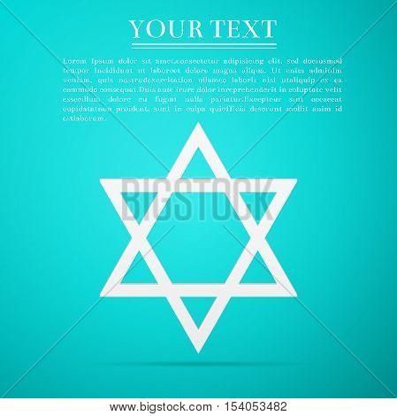 Star of David flat icon on blue background. Vector Illustration