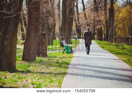 Elegant young man in a gray coat is walking across the park in early spring. Loneliness. Stroll