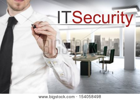 businessman in modern office writing it security