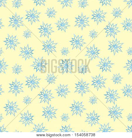 Snowflakes on a yellow background winter pattern Winter pattern abstract snowflake Background watercolor snowflakes Snowflakes seamless background watercolor Winter background seamless pattern
