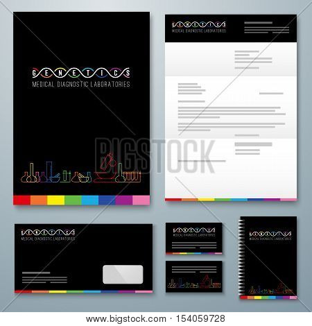 Genetics logo of medical clinic diagnostic laboratories. Colorful vector DNA, bulb, test tubes and microscope. Folder, letterhead, envelope, notebook, business card.