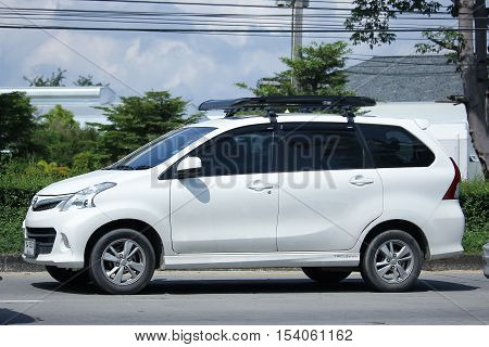 CHIANGMAI THAILAND - OCTOBER 9 2016: Private Toyota Avanza car. Mini Suv Car for Urbun User. On road no.1001 8 km from Chiangmai Business Area.