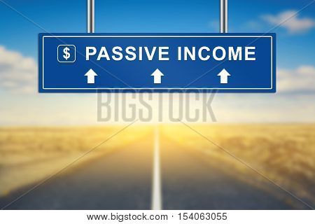 passive income words on blue road sign with blurred background