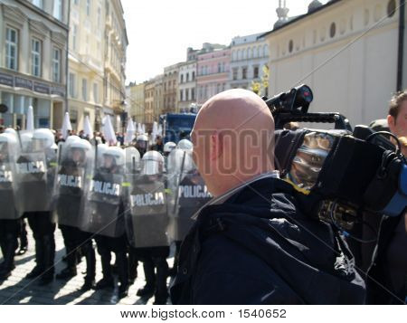 Riot Police And Cameraman