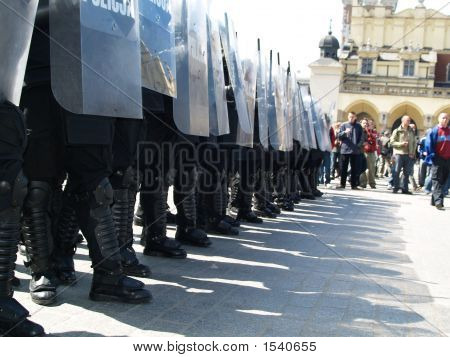 Riot Police At Demonstration
