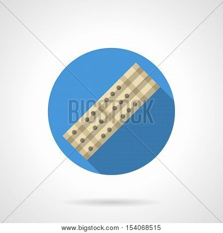 Symbol of chinese flute. Triple bamboo pipes. Ethnic woodwind instrument. Pictogram for musical store, site of music lessons, souvenir shop. Round blue flat design vector icon.