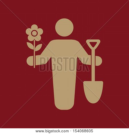 The gardener avatar icon. Gardening and agriculture, garden symbol. Flat Vector illustration