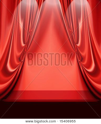 Red Drapes On Empty Stage