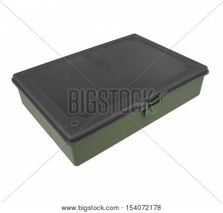 Green Plastic Box For Fishing Tackle On An Isolated White
