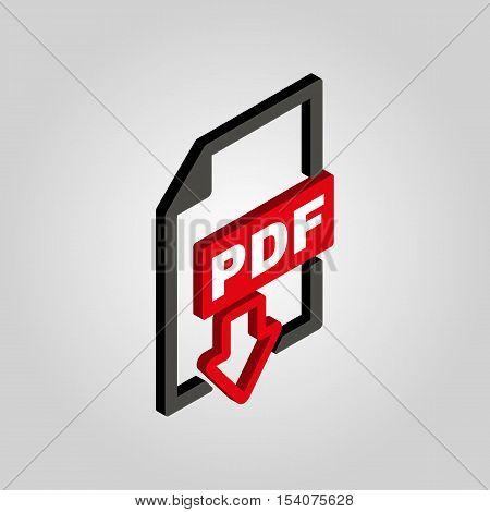 PDF icon. 3D isometric file format symbol. Flat Vector illustration
