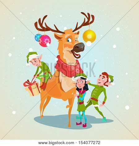 Christmas Elf Group Reindeer Cartoon Character Santa Helper With Present Box Stack Flat Vector Illustration