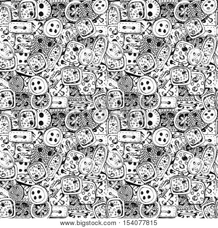 Seamless pattern with clothes buttons hand-drawn decorative elements. Pattern for coloring book. Black and white pattern.
