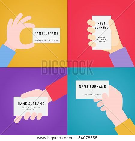 Business card in hand multicolored flat vector set.