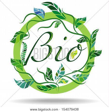 Bio Badge Sticker, Organic, Natural, Leaves, Ecology