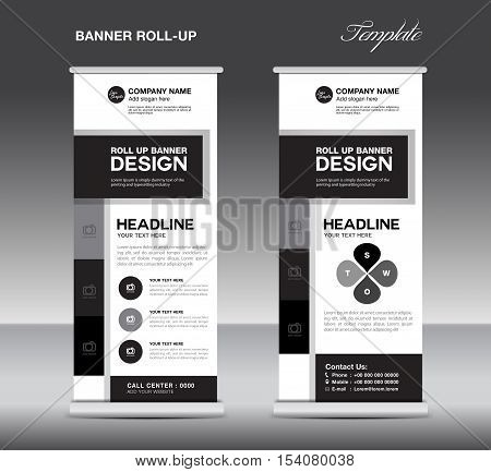 Black and white Roll Up Banner template and info graphics, stand design, advertisement, display, flyer design, vector illustration, pull up, banner template
