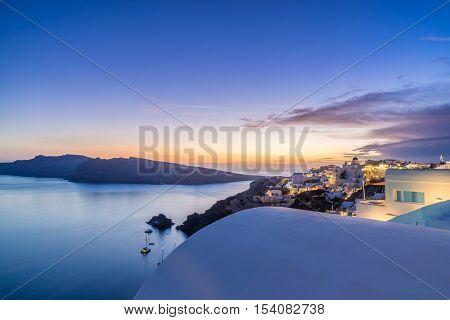 Oia village at sunset, Santorini island, Greece