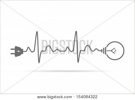 Wire plug and light bulb flat icon. Vector illustration. Plug light bulb and cord in the form of heartbeat. Concept of Electricity and lighting.