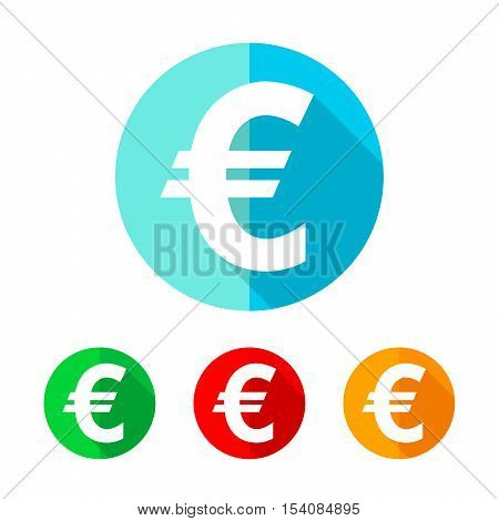 Set of colored euro icons. White euro icon with long shadow. Vector illustration. Euro sign on a the round button.