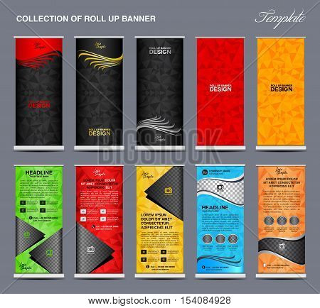 Collection of colorful Roll Up Banner Design stand template, polygon background, banner design, advertisement, display template, pull up banner, x-stand