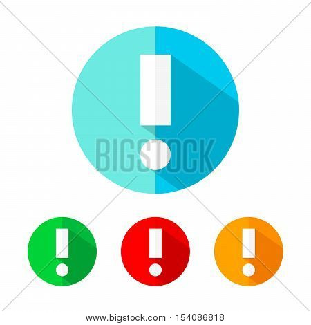 Set of colored warning icons. White warning icon with long shadow. Vector illustration. Warning sign on a the round button.