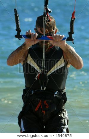Kite Surfer Preparing