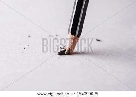 Close up of broken pencil Mistake or error concept