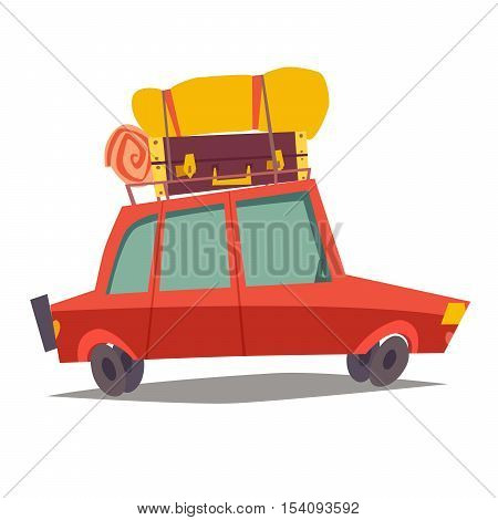Car for traveling vector. Red car vehicle transport with baggage. Car for family trip side view. Cartoon style illustration isolated on white background