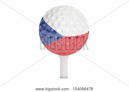 golf ball on a tee with flag of Czech Republic 3D rendering isolated on white background