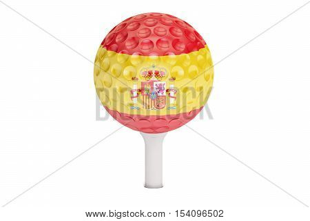 golf ball on a tee with flag of Spain 3D rendering isolated on white background
